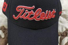 NEW Titleist Golf Deep Back Staff Fitted S/M Black/Red Hat/Cap Titleist